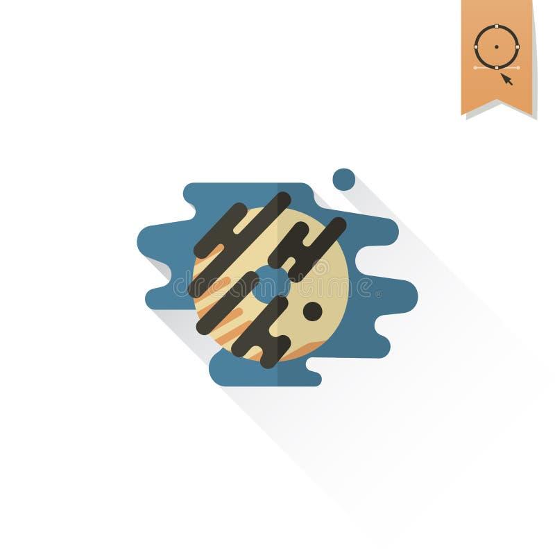 Doughnut met chocoladeglans vector illustratie