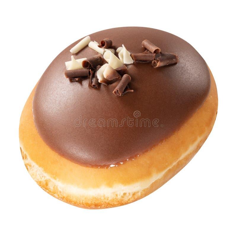 Doughnut met chocoladeglans op witte achtergrond wordt geïsoleerd die Één Doughnutchocolade stock fotografie