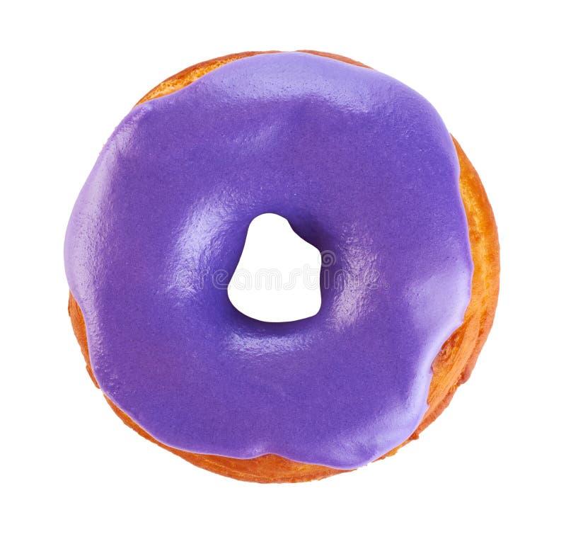 Doughnut met gekleurde die glans, op witte achtergrond wordt geïsoleerd royalty-vrije stock afbeelding
