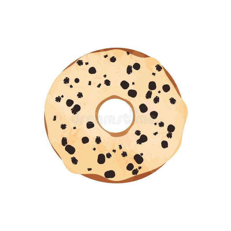 Doughnut met glans en chocolade op wit wordt geïsoleerd dat stock illustratie