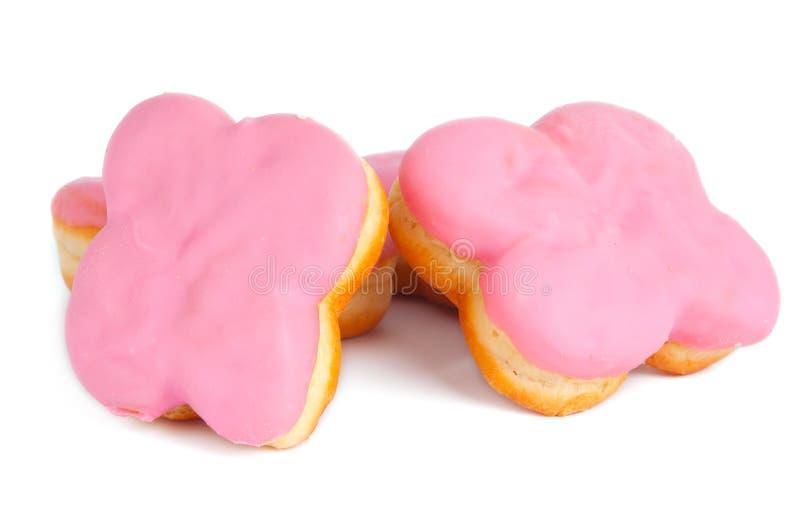 Doughnut met het roze berijpen stock afbeelding