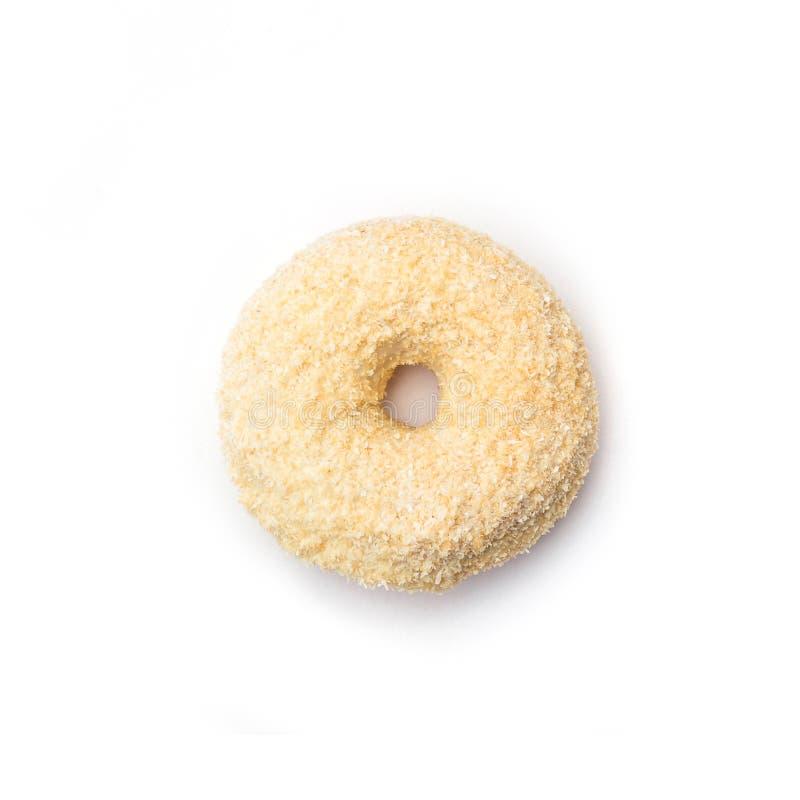 Doughnut met room en kokosnoot, op witte achtergrond wordt geïsoleerd die Hoogste mening stock foto's