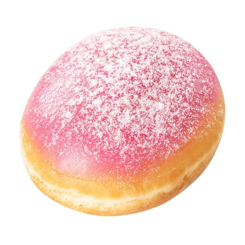 Doughnut met roze glans, die op witte achtergrond wordt geïsoleerd Doughnutclose-up royalty-vrije stock afbeeldingen