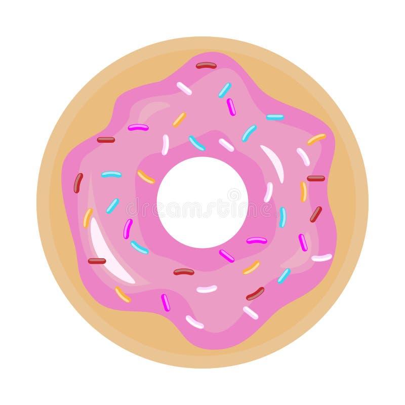 Doughnut met roze glans Doughnutpictogram Vlakke kleuren vectorillustratie royalty-vrije illustratie