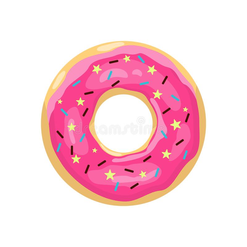 Doughnut met roze glans Het pictogram van de kleurendoughnut Leuke roze beeldverhaaldoughnut Vector illustratie stock illustratie