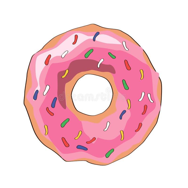 Doughnut met roze glans Pictogram, vectorillustratie Het teken van de karameldoughnut met bovenste laagje vector illustratie
