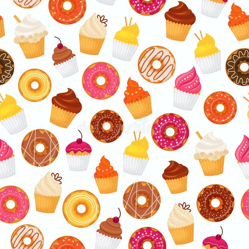 Doughnut naadloos patroon vector illustratie