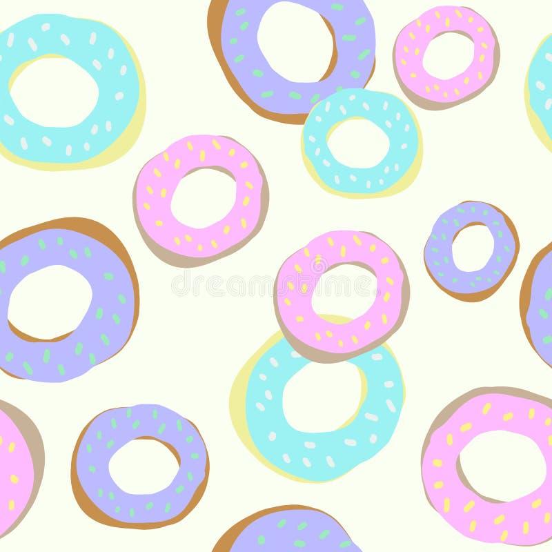 Doughnut naadloos patroon voor achtergrond, textiel royalty-vrije illustratie