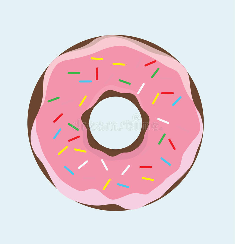 Doughnut With Pink Creme. Donut Caramel - Sweet Cartoon Food Donut Vector Illustration Icon Sign royalty free illustration