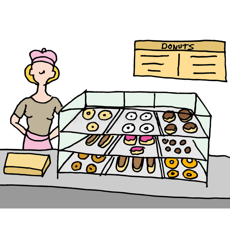 Cartoon Doughnut Factory: Doughnut Shop Counter Stock Vector. Illustration Of