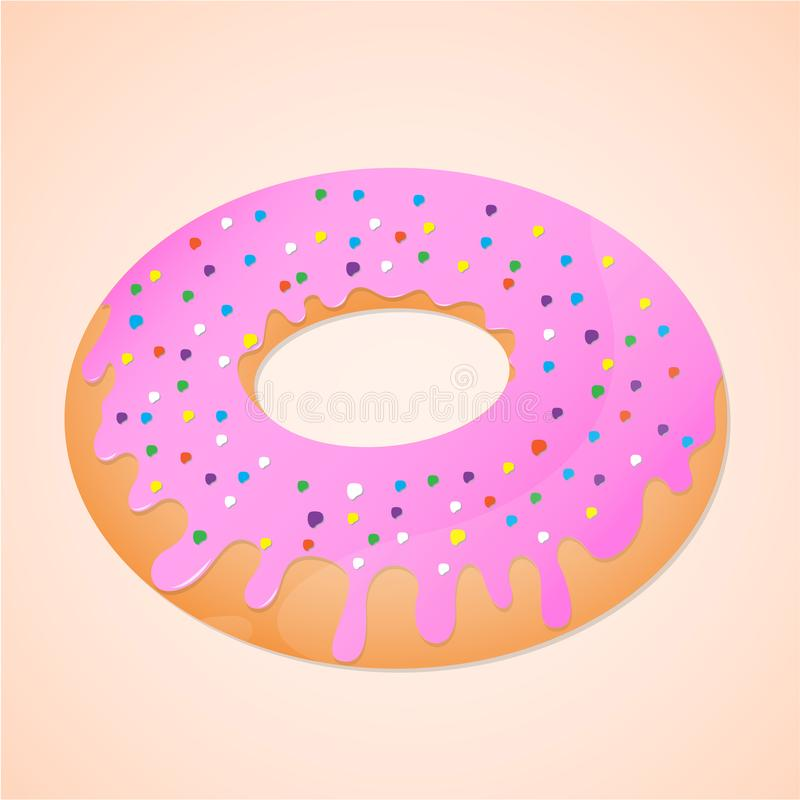 Doughnut is sweet food. Donut with pink topping cream colorfull and ring shaped royalty free illustration