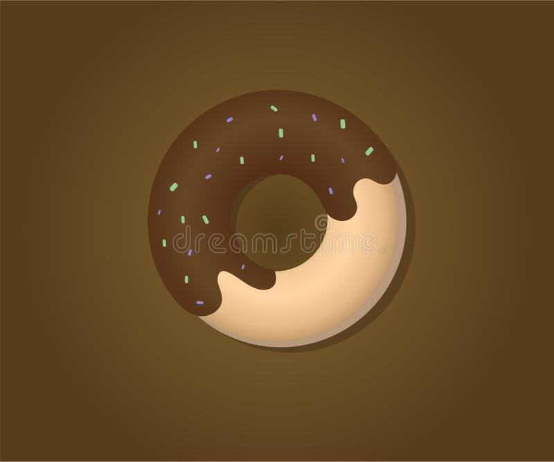 Doughnut vector design topping with strawberry chocolate stock photo