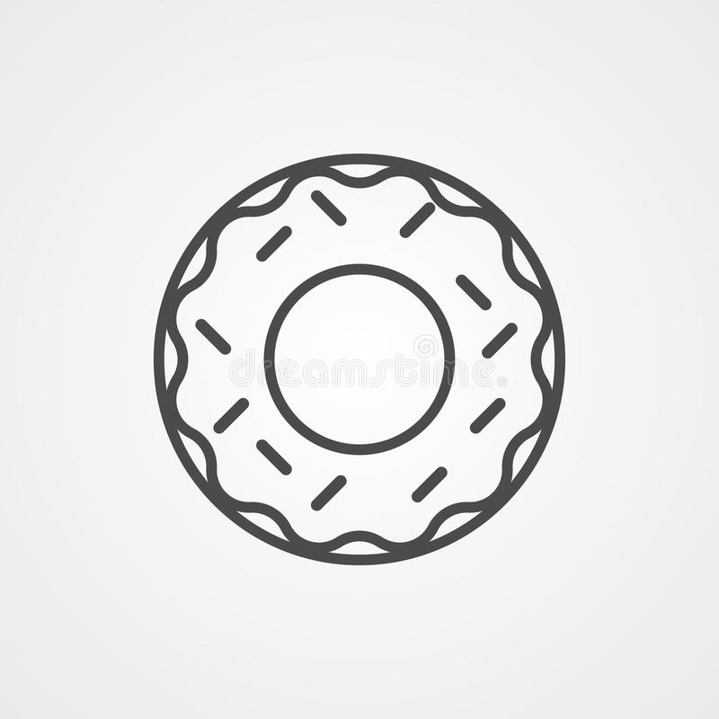 Doughnut vector icon sign symbol. Icon vector, filled flat sign, solid pictogram isolated on white. Symbol, logo illustration royalty free illustration