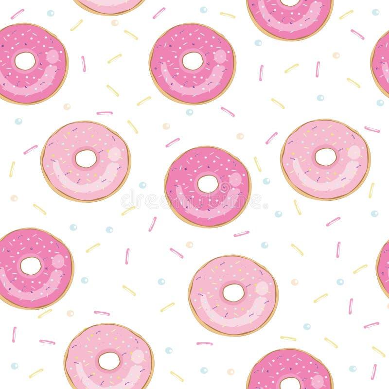 Doughnut vectordieillustratie op witte achtergrond wordt geïsoleerd Doughnutpictogram in een vlakke stijl Naadloos patroon, achte royalty-vrije stock foto