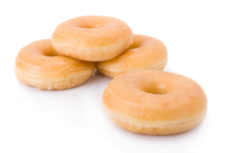 Doughnuts Or Donuts Isolated On White Stock Images