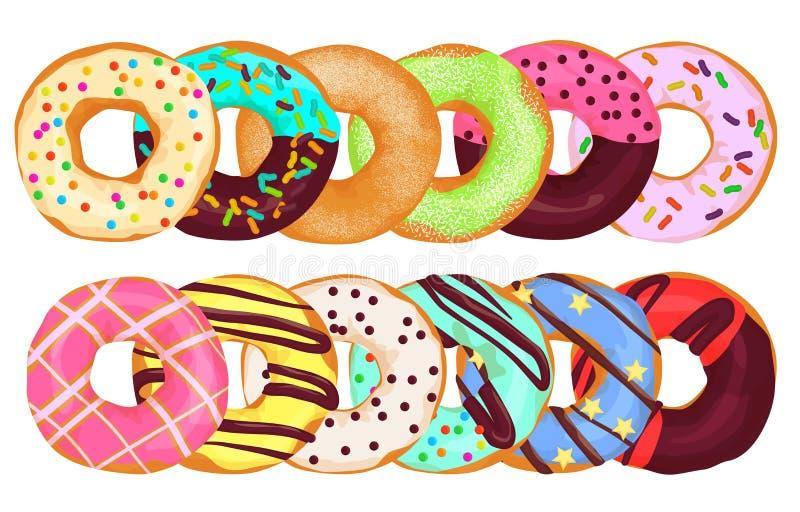 Doughnuts doughnut κέικ από κοινού Επιλογές ζύμης donuts διανυσματική απεικόνιση