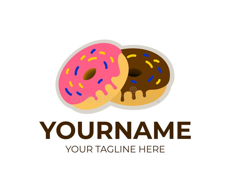 Doughnuts in glaze, donuts and delicious sugary dough rings, logo template. Sweet dessert, food and confectionery, vector design royalty free illustration