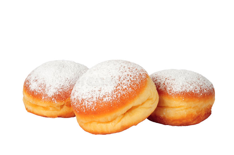 Doughnuts isolated. Three doughnuts isolated over white background royalty free stock photo