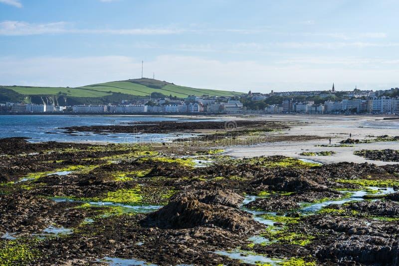 Douglas Bay a bassa marea, Isola di Man fotografia stock