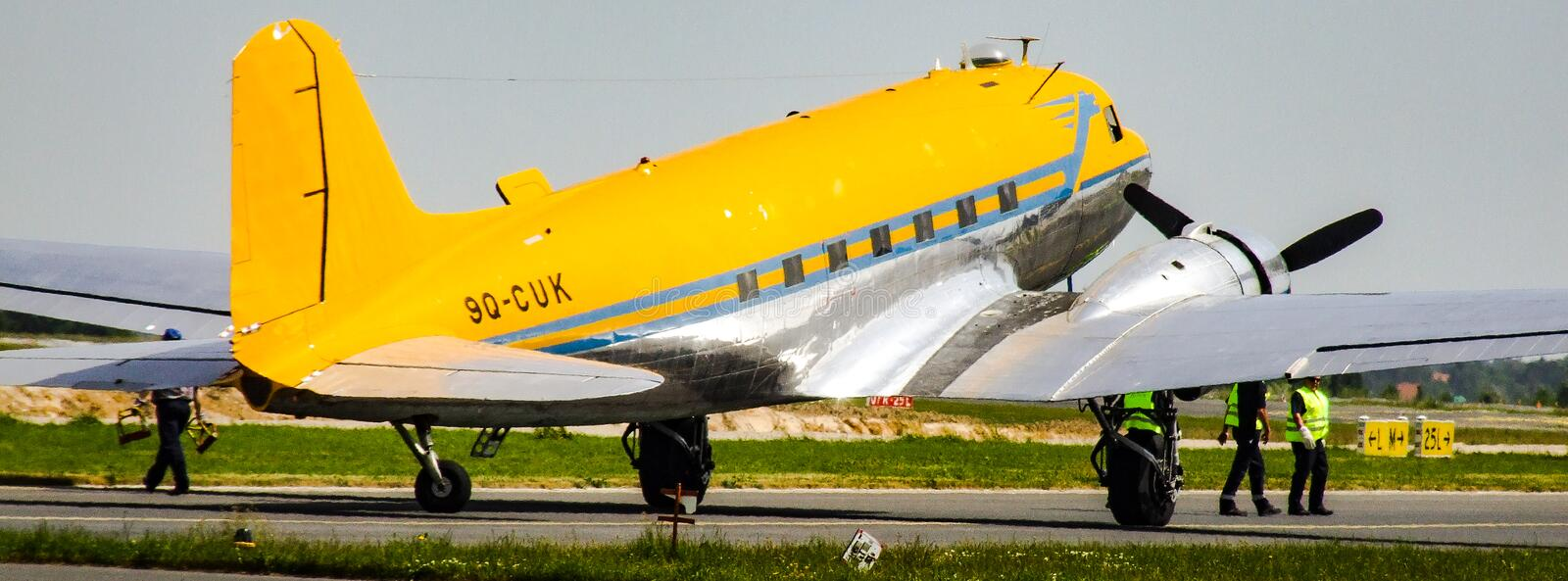Douglas C-47B Skytrain with 9Q-CUK markings and Valentuna Aviators livery. Douglas C-47B Skytrain formerly DC-3 Dakota. Airplane with 9Q-CUK marking. Aircraft stock photography