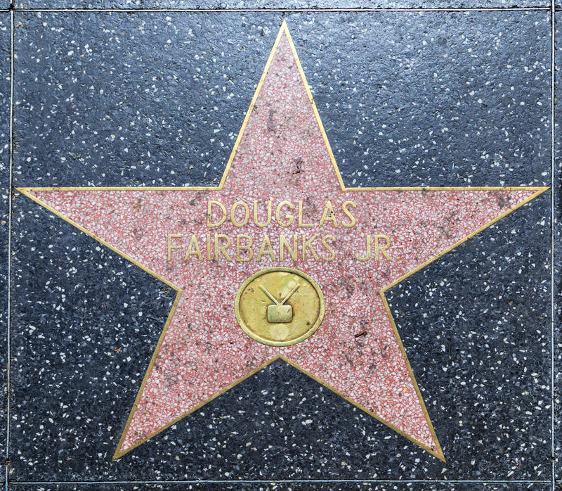 Douglas Fairbanks-ster op Hollywood royalty-vrije stock afbeelding