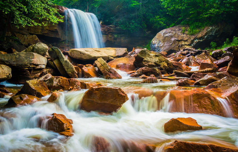 Douglas Falls, sur la rivière de Blackwater dans Monongahela F national photo stock