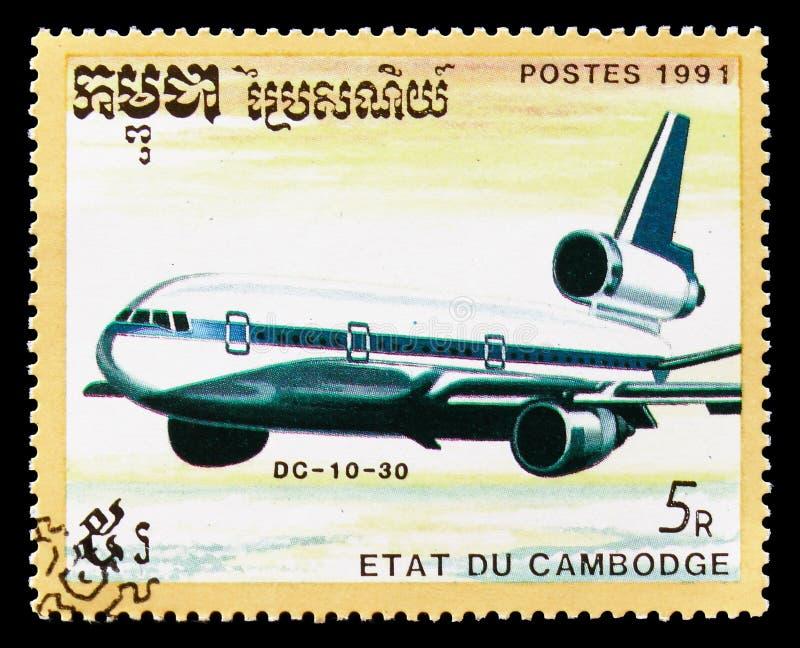 Douglas gelijkstroom 10-30, Vliegtuigen serie, circa 1991 royalty-vrije stock foto