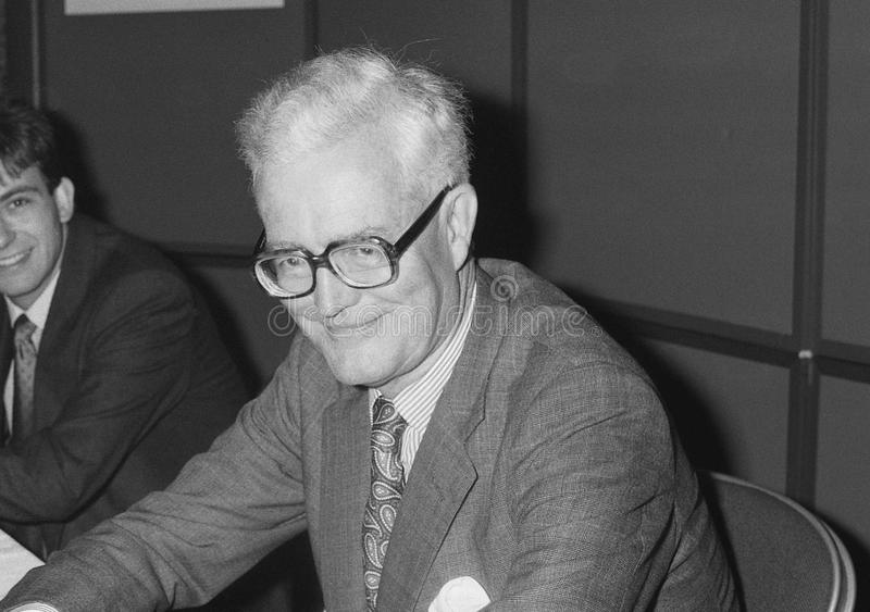 Douglas Hurd. British Foreign Secretary & Conservative party Member of Parliament for Witney, visits the party conference in Blackpool on October 10, 1989 stock images
