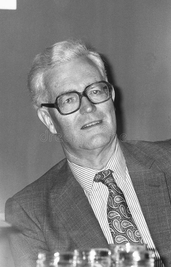 Douglas Hurd. British Foreign Secretary & Conservative party Member of Parliament for Witney, visits the party conference in Blackpool on October 10, 1989 royalty free stock images