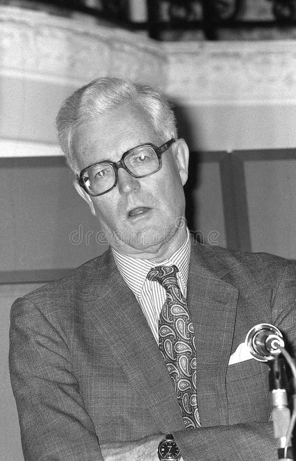 Douglas Hurd. British Foreign Secretary & Conservative party Member of Parliament for Witney, visits the party conference in Blackpool on October 10, 1989 royalty free stock image