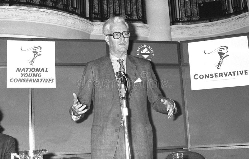 Douglas Hurd. British Foreign Secretary & Conservative party Member of Parliament for Witney, speaks at the party conference in Blackpool on October 10, 1989 stock photos