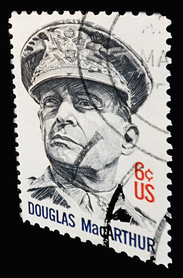 Douglas MacArthur - stamp. General of the Army Douglas MacArthur was an American five-star general and Field Marshal royalty free stock image