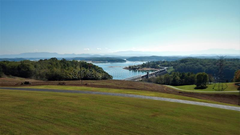Douglas Dam with the Smoky Mountains Tennessee. Douglas Reservoir Hydroelectric Dam in Tennessee with the Smoky Mountains in the background built in 1940 by the royalty free stock photo