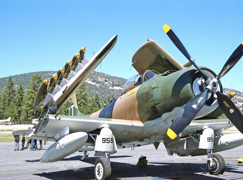Douglas Skyraider. This is a propellor driven Douglas Skyraider used during the Korean War and also in the Viet Nam conflict as a tactical ground support stock photography