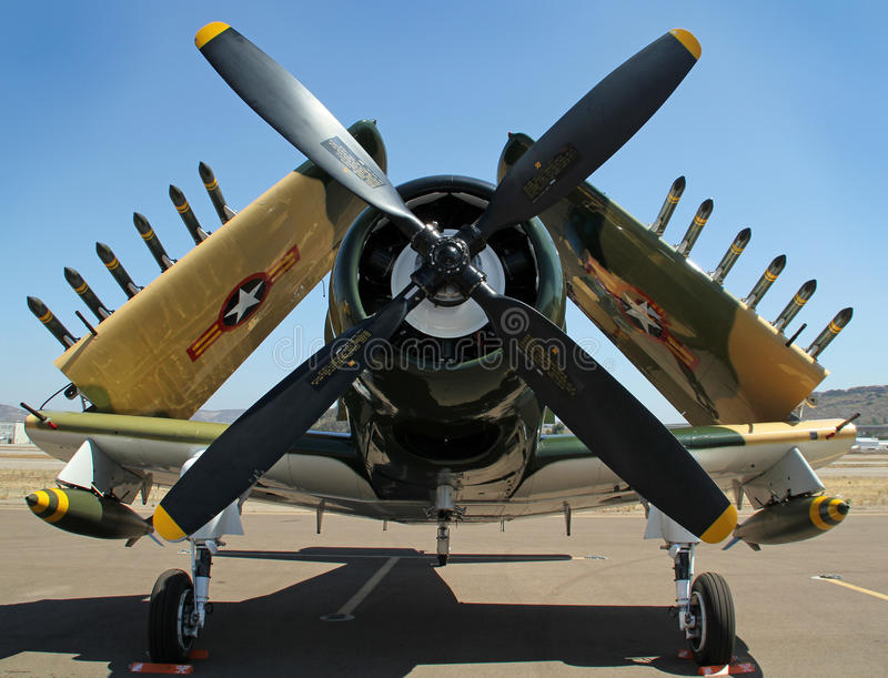 Douglas A-1 Skyraider. A close up of a Douglas A-1 Skyraider, armed with bombs and rockets royalty free stock photography