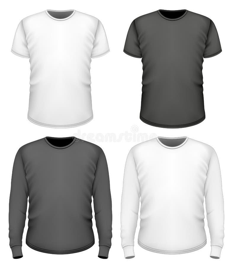 Douille courte et longue de T-shirt d'hommes illustration libre de droits