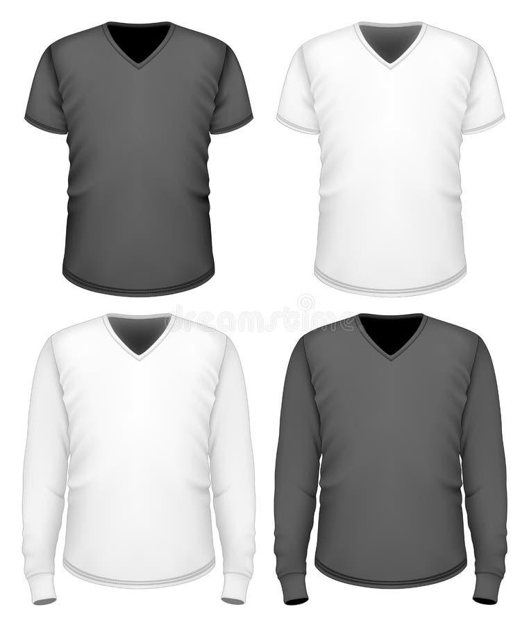 Douille courte et longue de v-cou de T-shirt d'hommes illustration libre de droits
