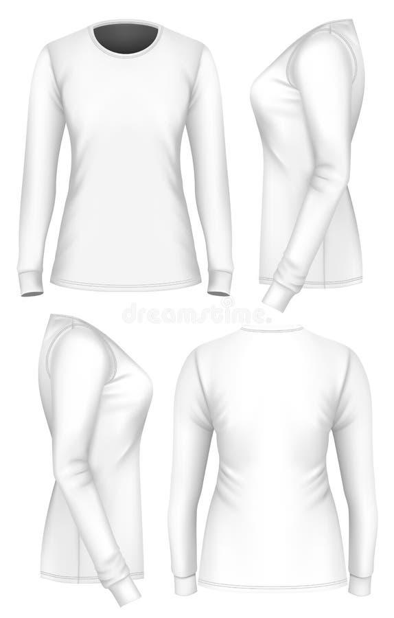 Douille de T-shirt de femmes longue illustration stock