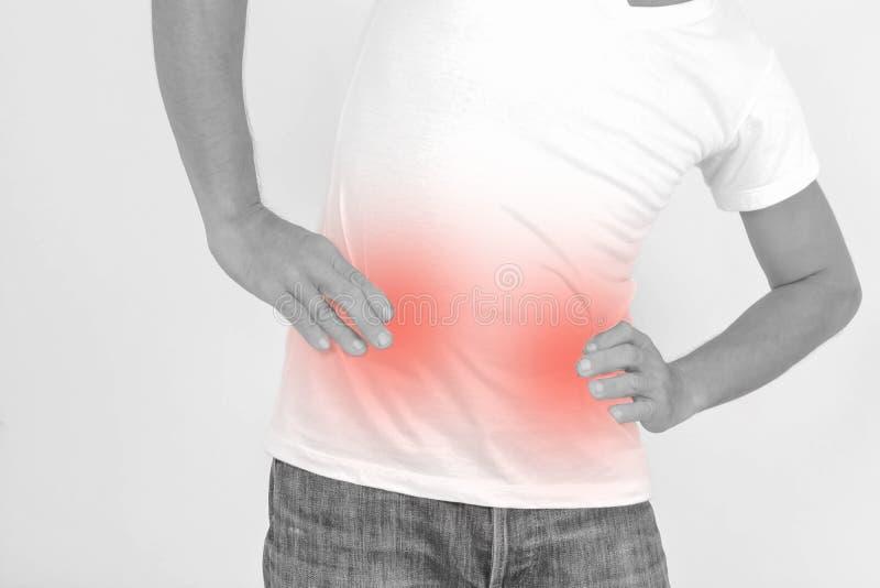 Douleur abdominale chez l'homme image stock