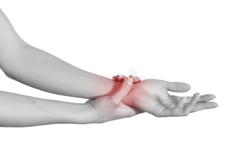 Douleur aiguë dans un poignet de femme. images libres de droits