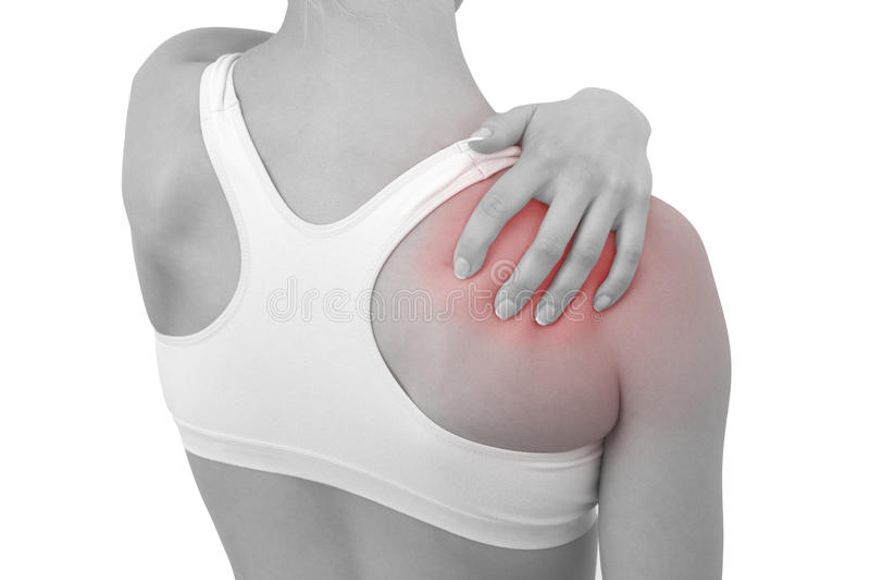 Douleur aiguë dans une épaule de femme photo stock