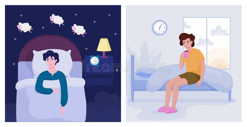 Douleur d'homme de l'insomnie Type sans le sommeil illustration de vecteur