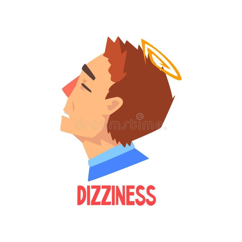 Douleur d'homme du mal de tête et des vertiges, la maladie de la tête, migraine, illustration malheureuse en difficulté de vecteu illustration de vecteur