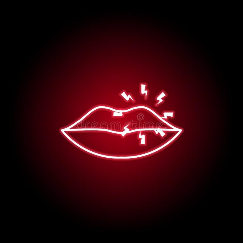 douleur dans l'icône de lèvres dans le style au néon ?l?ment de douleur de corps humain pour l'illustration mobile d'apps de conc illustration stock