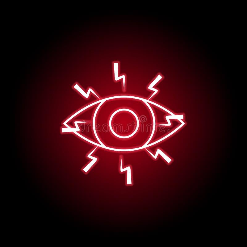 Douleur dans l'icône de yeux dans le style au néon ?l?ment de douleur de corps humain pour l'illustration mobile d'apps de concep illustration libre de droits