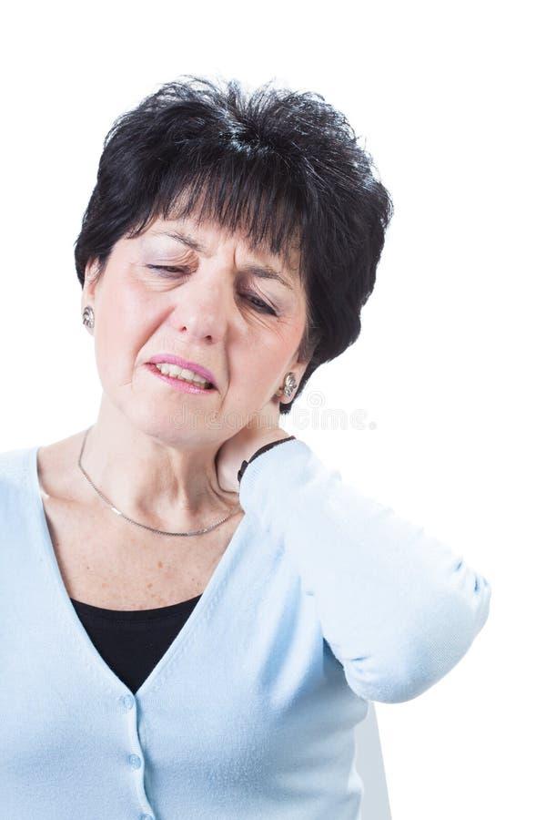Douleur dans le cou photo stock