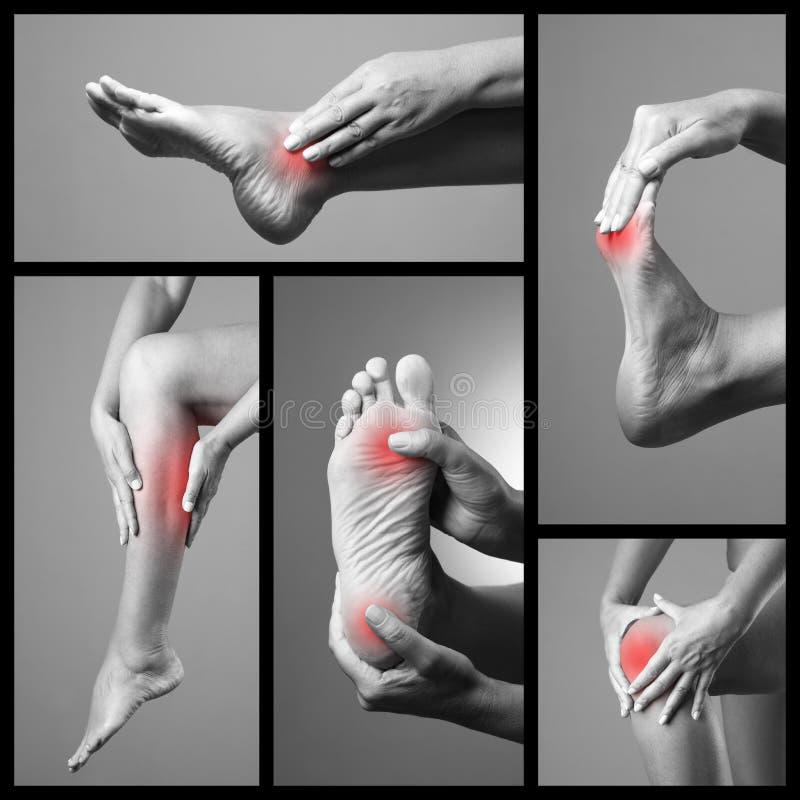 Douleur dans le pied Massage des pieds femelles Blessure sur des jambes de femme Faites souffrir au corps humain sur un fond gris image libre de droits