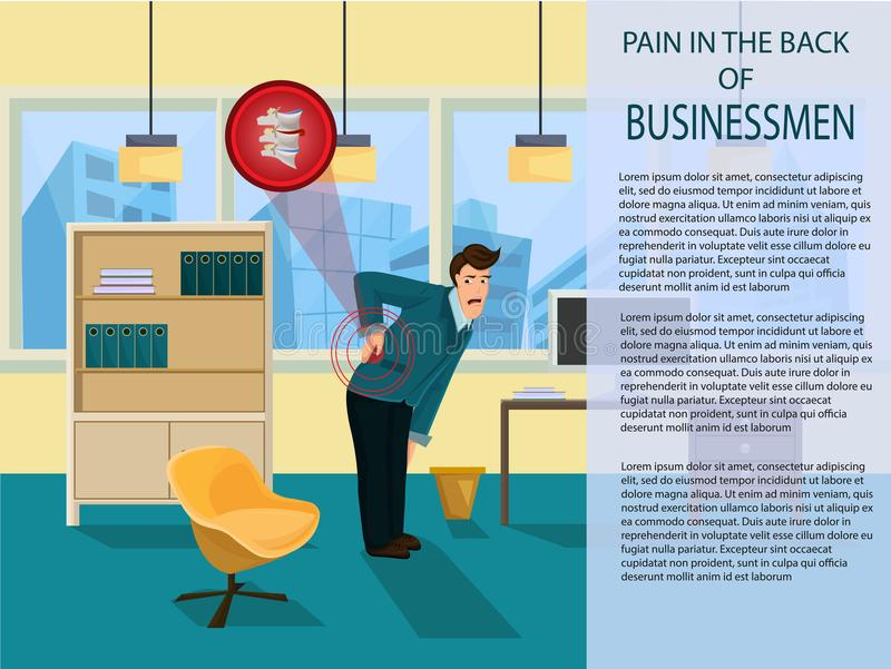 Douleur dans les hommes d'affaires arrières Illustration de vecteur illustration libre de droits