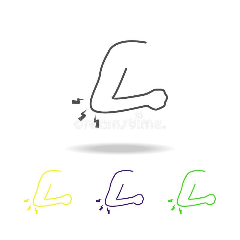 douleur dans les icônes multicolores de coude L'élément de la douleur de corps humain peut être employé pour le Web, logo, l'appl illustration de vecteur