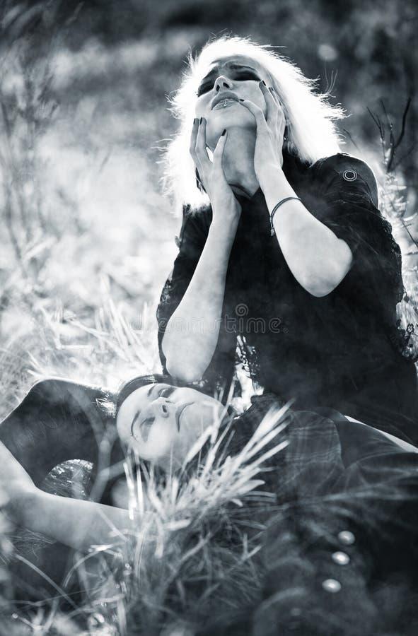 Douleur de femmes de Goth photo libre de droits